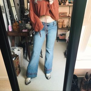 Vintage Low Rise Levi's 514 Embroidered Flares